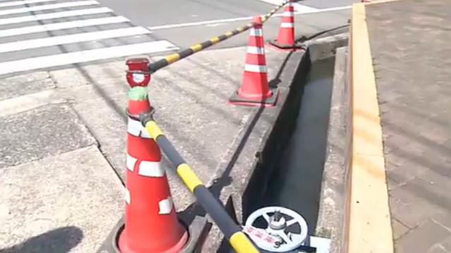 福山市 用水路転落