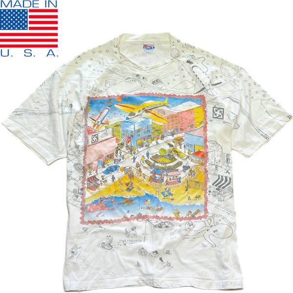 USED1点もの面白プリントTシャツ総柄デザイン@古着屋カチカチ03