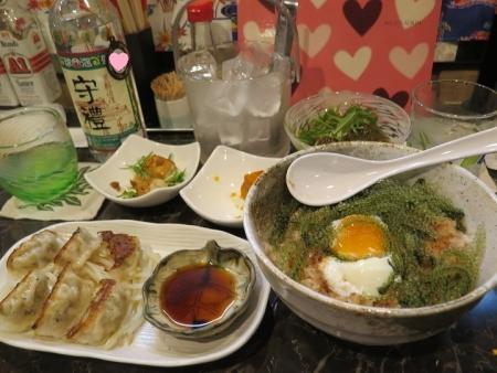 餃子と海ぶどう丼