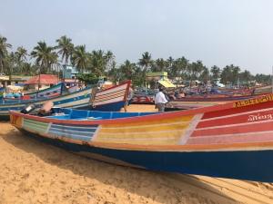 カラフルなインドの漁船!の真ん中に…
