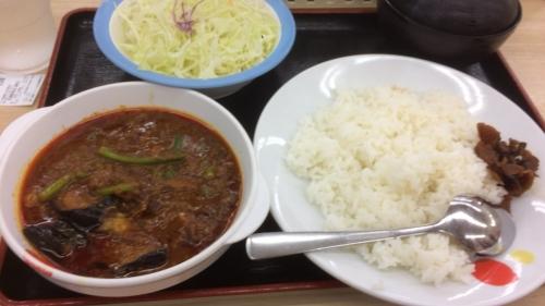 粗挽き肉と茄子の「麻婆カレー定食」並
