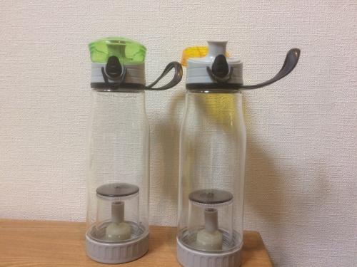 茶こし付き水筒エコボトル 緑・黄