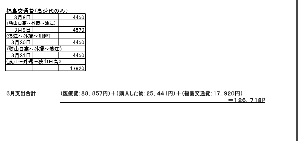 3月支出交通費