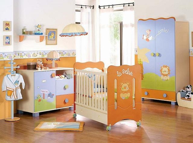 Modern-nursery-in-blue-and-orange.jpg