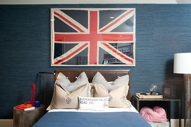 Polished-teen-room-in-blue-with-grasscloth-wall-covering-and-framed-Union-Jack.jpg