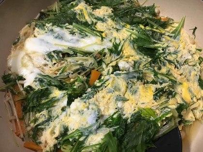 水菜の卵とじ