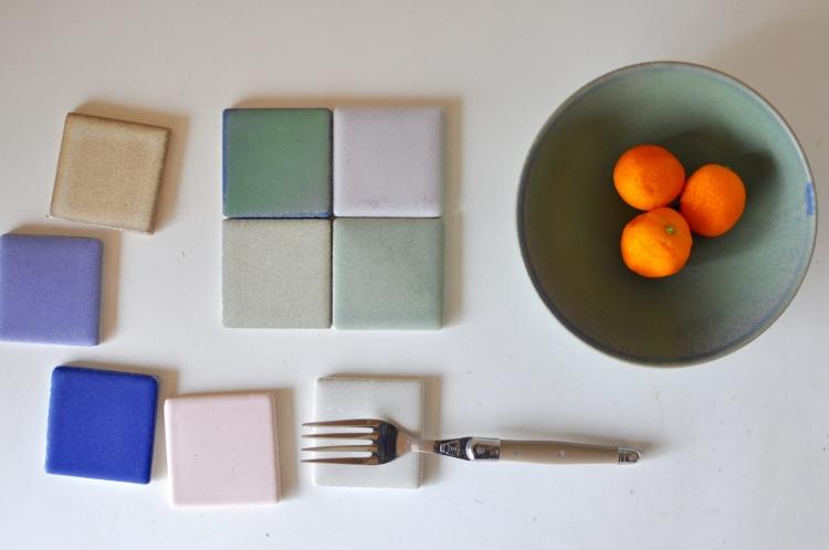 和田麻美子/タイル、グリーンの皿