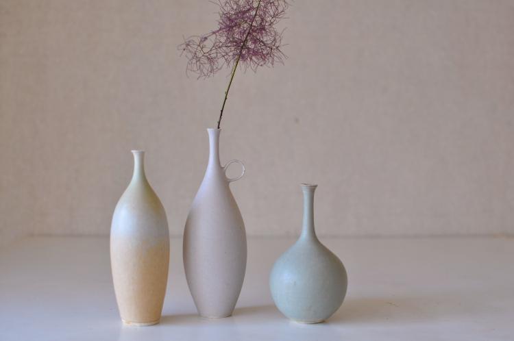 和田麻美子/花器オレンジグラデ、ピンク、グリーン