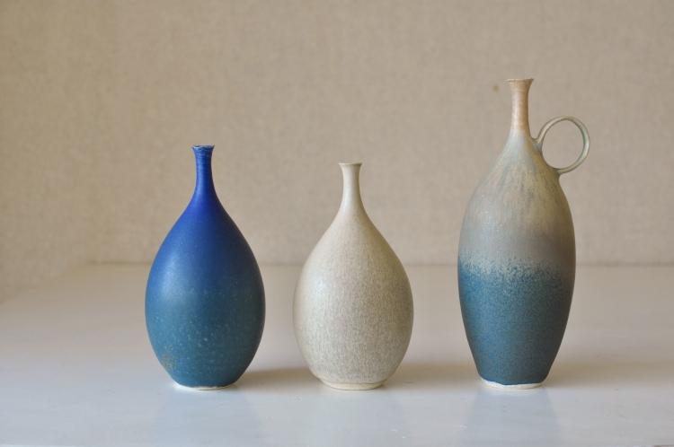 和田麻美子/花器青グラデ、ベージュ、ベージュグリーングラデ