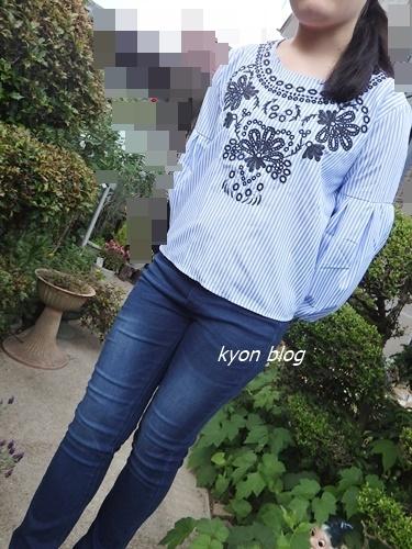LFO バルーン袖刺繡ブラウス