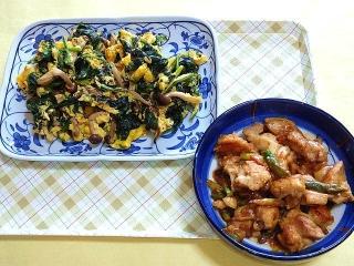 CAI_180402_5104 ほうれん草と玉子のバター炒め・アスパラガスと鶏肉の味噌炒め_VGA