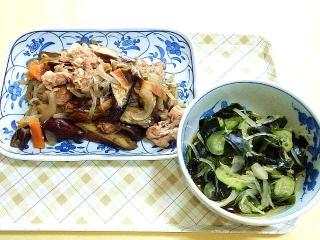 CAI_180405_5110 茄子と豚肉のオイスター炒め・玉葱、胡瓜、ワカメの酢の物_VGA