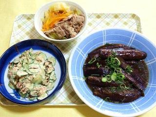 CAI_180409_5111 キャベツと豚肉の重ね蒸し・胡瓜のツナマヨ和え・茄子の煮浸し_VGA