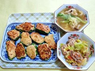 CAI_180412_5113 ピーマンの鶏ミンチ詰め中華風・白菜と鶏つくねの中華風スープ・豚コマとキャベツのマリネ_VGA