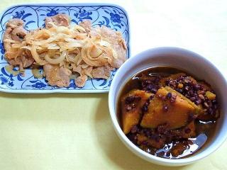 CAI_180416_5115 豚肉と玉葱の生姜炒め・カボチャと小豆のいとこ煮_VGA