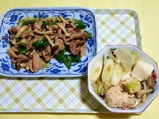 CAI_180507_5132 豚肉としめじピーマンのにんにく生姜炒め・鶏のつみれ汁_VGA