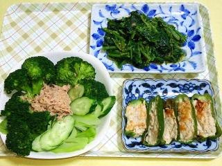 CAI_180507_5133 ブロッコリーのサラダ・ほうれん草の胡麻和え・肉詰めピーマン_VGA