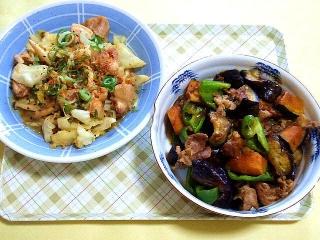 CAI_180510_5134 キャベツと鶏もも肉のピリ辛ガリバタ炒め・茄子の甘酢炒め_VGA