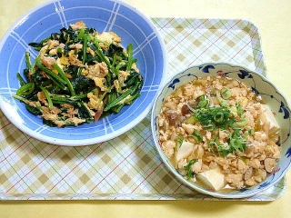 CAI_180510_5135 ほうれん草とツナの玉子とじ・豆腐の鶏そぼろあん_VGA