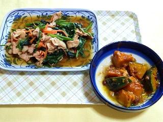 CAI_180514_5137 ほうれん草と豚肉のエスニック炒め・かぼちゃと小豆の和風そぼろあん_VGA