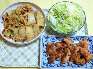 CAI_180528_5150 白菜とシメジの玉子とじ・キャベツとレタスのサラダ・鶏ももの唐揚げ_VGA