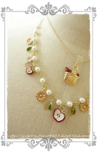0414実りのフルーツネックレス(ゴールド)りんご断面
