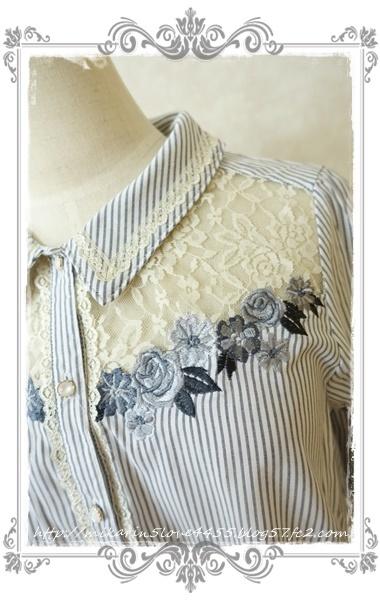 0414刺繍デザインシャツブラウス(紺)刺繍アップ