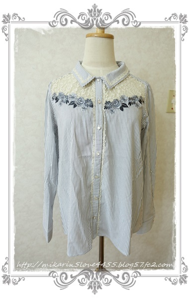 0414刺繍デザインシャツブラウス(紺)