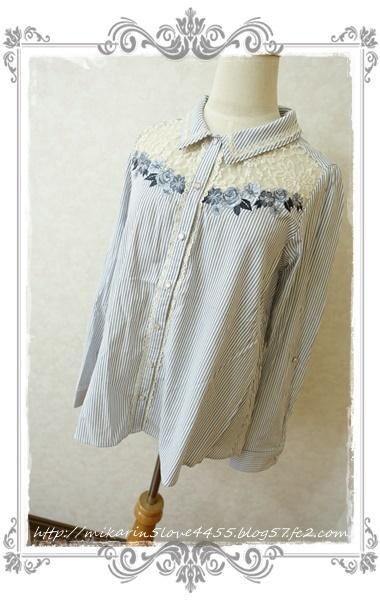 0414刺繍デザインシャツブラウス(紺)2