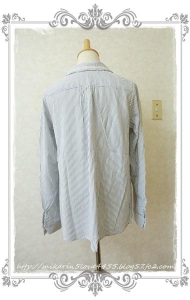 0414刺繍デザインシャツブラウス(紺)後ろ