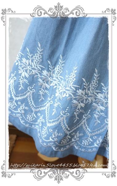 0601裾刺繍デニムスカート(ウォッシュ)刺繍