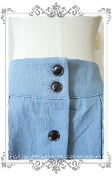 0601裾刺繍デニムスカート(ウォッシュ)ウエストボタン