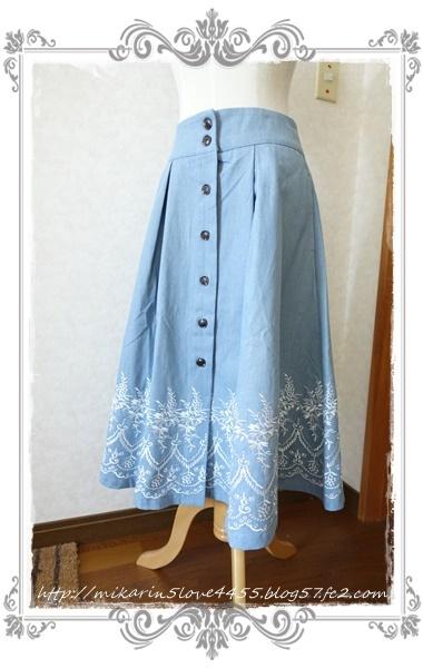 0601裾刺繍デニムスカート(ウォッシュ)2