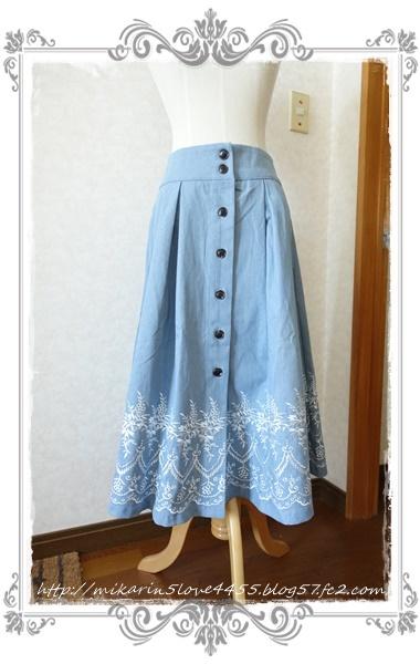 0601裾刺繍デニムスカート(ウォッシュ)