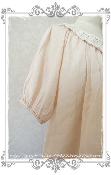 0601お花レーススモックブラウス(淡ピンク)袖