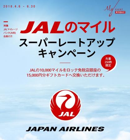 JALは、ロッテ免税店銀座への交換で「スーパーレートアップキャンペーン」を開催、10,000マイルが15,000円分のギフトカードに!