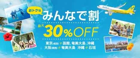 バニラエアは、3名以上の予約で最大30%OFFになる「みんなで割」を販売!