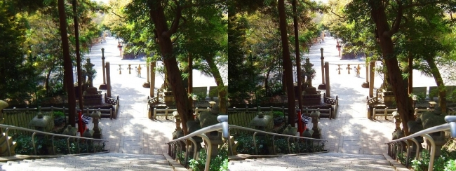 枚岡神社 拝殿への参道石段③(交差法)