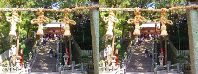 枚岡神社 拝殿への参道石段①(交差法)
