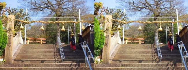 枚岡神社 駅前階段注連柱(平行法)