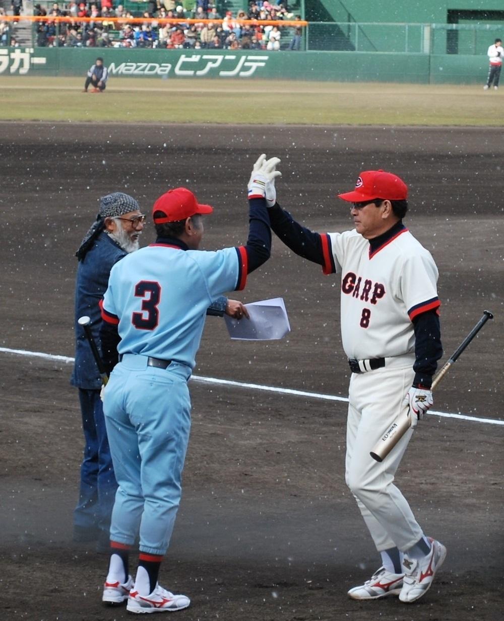 カープOBオールスターゲームの衣笠祥雄・山本浩二