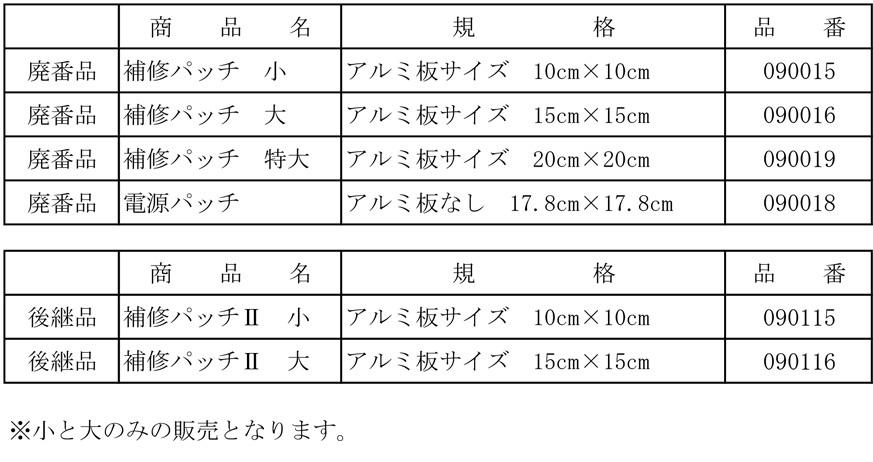 補修パッチ表②