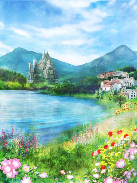 春の湖イラスト