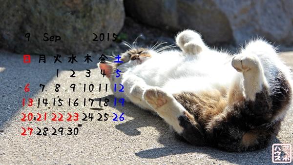 2015年 9月 猫デスクトップカレンダー