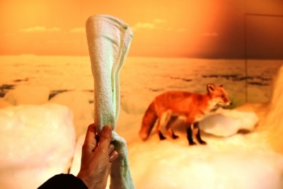 流氷体感テラス濡れたタオルを凍らせる