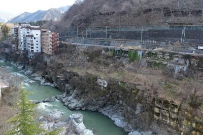 ホテルから望む鬼怒川渓谷