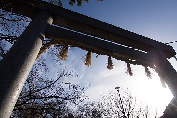 大乃伎神社鳥居と太陽