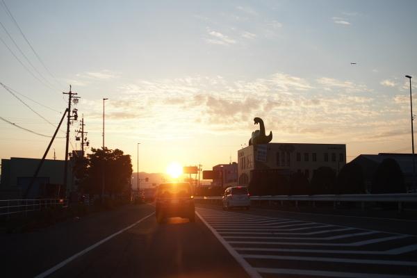 夕日と風景