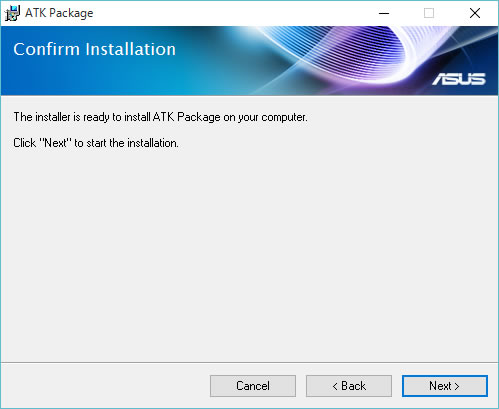 The installer is ready to install ATK Package on yout computer. Click Next to start the installation. [Next]をクリック