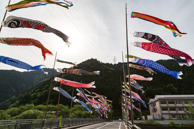江府町 夜振橋の鯉のぼり 大山 南壁